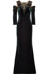 Marchesa Notte Cold Shoulder Tulle And Lace Paneled Velvet Gown Dark Green
