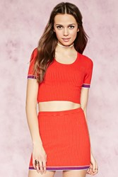 Forever 21 Stripe Trim Ribbed Crop Top