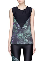 We Are Handsome 'Jag' Leaf Print Mesh Muscle T Shirt Black Multi Colour