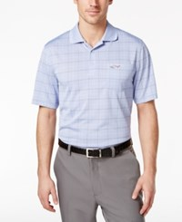Greg Norman For Tasso Elba Men's Big And Tall Windowpane Jacquard Polo Only At Macy's Peri Gloss