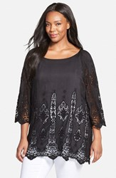 Plus Size Women's Xcvi 'Kensington' Embroidered Lace Cotton And Silk Voile Tunic Black