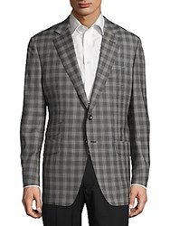 Tom Ford Classic Fit Wool Notch Lapel Plaid Jacket Black White