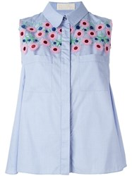 Peter Pilotto Floral Crochet Trapeze Blouse Blue