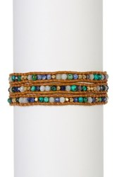 Chan Luu Leather And African Turquoise Beaded Wrap Bracelet Blue