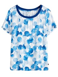 Sandwich Faded Circle Print Top Blue