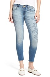 Wit And Wisdom Embroidered Seamless Ankle Skinny Jeans Light Blue