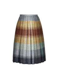 Marco De Vincenzo Metallic Pleated Striped Midi Skirt