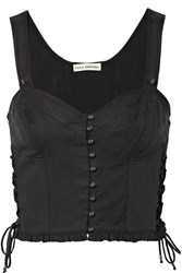 Ulla Johnson Thea Lace Up Twill Bustier Top Black