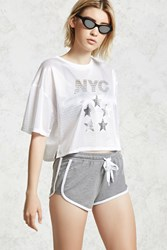 Forever 21 Drawstring Dolphin Shorts Heather Grey White