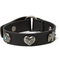 Valentino Leather And Silver Tone Bracelet Black