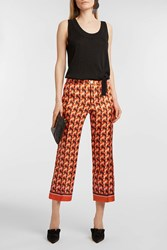 For Restless Sleepers Ceo Printed Silk Twill Straight Leg Trousers