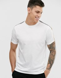 Brave Soul T Shirt With Reflective Tapping White