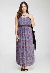 Forever 21 Strappy Tribal Print Maxi Dress Royal Coral