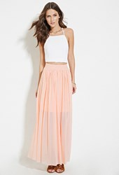 Forever 21 Tulle Maxi Skirt Light Pink