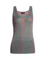 Missoni Faded Stripe Ribbed Knit Tank Top Pink Multi
