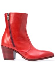 Rocco P. Zipped Ankle Boots Red