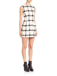 Alexander Mcqueen Houndstooth Tweed Sheath Dress Black Ivory