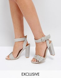 The March Snake Print Buckle Block Heeled Sandals Grey Snake