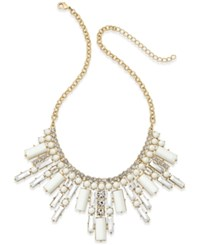 Abs By Allen Schwartz Gold Tone White Stone And Crystal Deco Statement Necklace