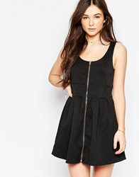 Wal G Skater Dress With Zip Front Black