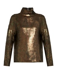 Tibi Sequin Embellished Roll Neck Top Khaki