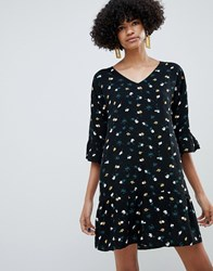 B.Young Floral Dress With Fluted Sleeve Black Combi