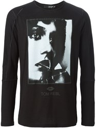 Tom Rebl Face Print Long Sleeve T Shirt Black