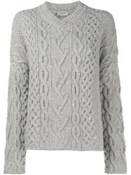 Lanvin Cable Knit V Neck Jumper Grey