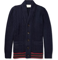 Gucci Striped Cable Knit Wool Cardigan Navy
