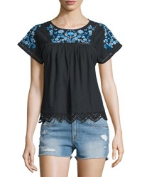 Rebecca Taylor Garden Floral Embroidered Top Black