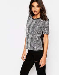 Y.A.S Scribble Print Short Sleeve Shirt Black