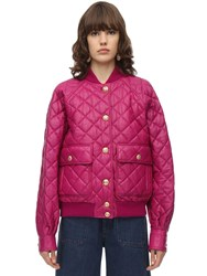 Gucci Quilted Leather Bomber Jacket Fuchsia