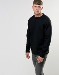 Bellfield Woven Wool Raglan Sweatshirt Black