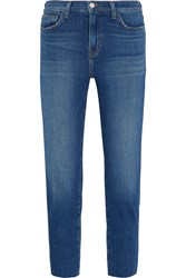 L'agence Marcelle Cropped Low Rise Skinny Jeans Mid Denim