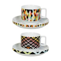 Magpie Viva Cup And Saucer Set Chevron Diamonds