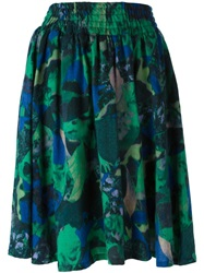 Zucca Printed Pleated Skirt Green