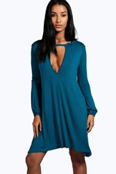 Boohoo Cut Out Long Sleeve Swing Dress Ink