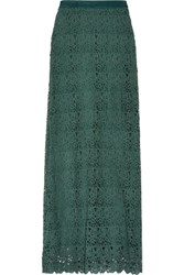 Miguelina Mirabelle Cotton Guipure Lace Maxi Skirt Emerald