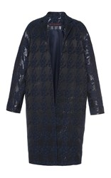 Martin Grant Black Brocade Houndstooth Men's Coat Navy