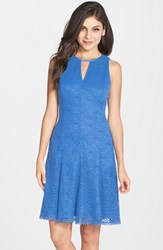 Women's Maggy London Lace Keyhole Neck Fit And Flare Dress