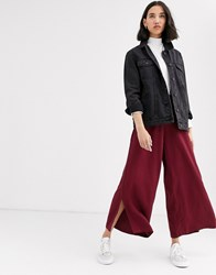 Native Youth Wide Leg Trousers With Ring Pull In Satin Co Red