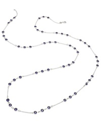 Abs By Allen Schwartz Necklace Silver Tone Faceted Purple Stone Strand Necklace