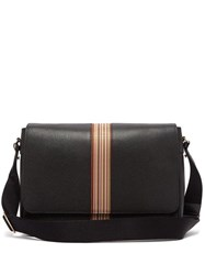 Paul Smith Signature Stripe Leather Messenger Bag Black