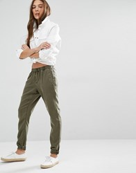 Tommy Hilfiger Denim Tapered Utility Trousers Grape Leaf Green