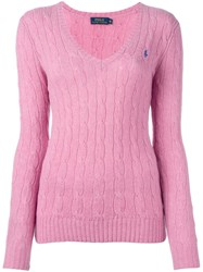 Polo Ralph Lauren Cable Knit Jumper Pink And Purple