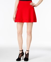 Armani Exchange Flared Pull On Skirt Solid Red