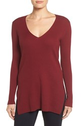 Vince Camuto Women's Ribbed V Neck Sweater Malbec Red