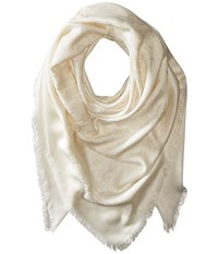 Marc Jacobs Solid Monogram Logo Shawl Ivory Scarves White
