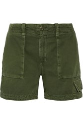 Current Elliott The Industrial Cotton Twill Shorts Army Green
