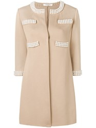 Charlott Pearl Embellished Coat Nude And Neutrals